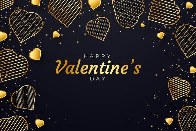 Fond D'écran Doré De La Saint-valentin Vecteur gratuit