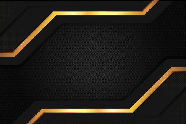 Fond D'écran élégant En Acier Métallique De Couleur Or Noir Vecteur Premium