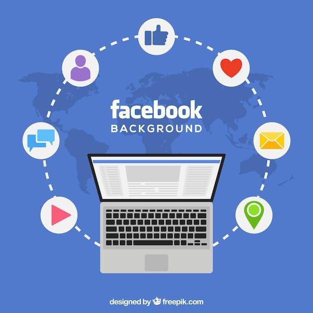 Fond D Ecran Facebook Avec Ordinateur Portable Vecteur Gratuite