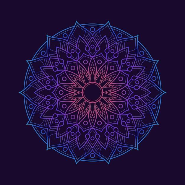 Fond D'écran De Fond Dégradé Mandala Coloré. Motif Floral De Couleur Néon. Textile En Tissu Arabesque. Vecteur Premium