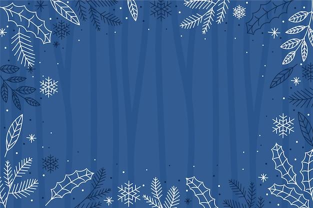 Fond D'écran D'hiver Dessiné à La Main Avec Un Espace Vide Vecteur Premium