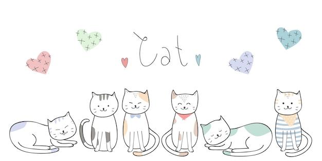 Fond D Ecran Mignon Chat Chaton Dessin Anime Doodle Vecteur Premium