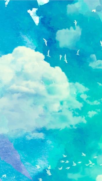 Fond D Ecran Mobile Avec Ciel Aquarelle Vecteur Gratuite