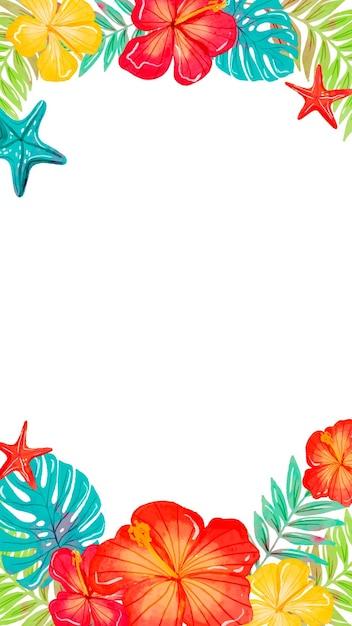 Fond D Ecran Mobile Avec Des Fleurs Tropicales Vecteur Gratuite