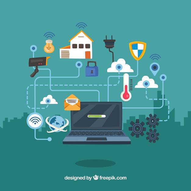 Fond D Ecran D Ordinateur Portable Avec Elements De Maison Connectes A Internet Vecteur Gratuite