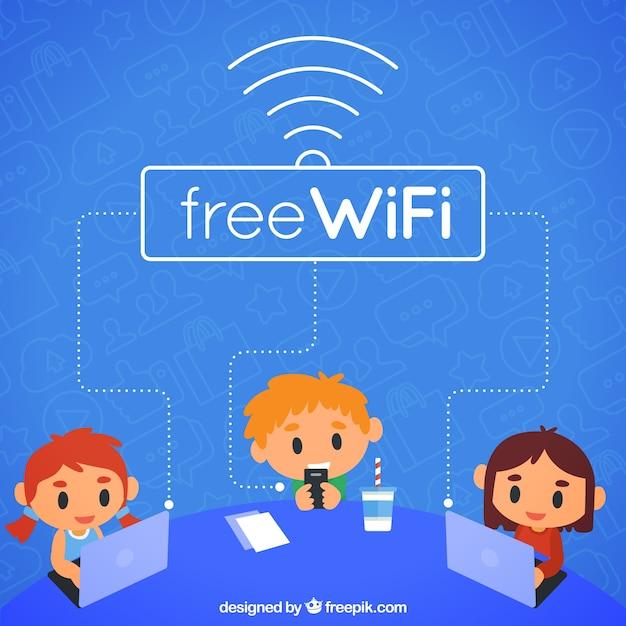 Fond D Ecran Avec Ordinateur Portable Et Wifi Gratuit Vecteur Gratuite