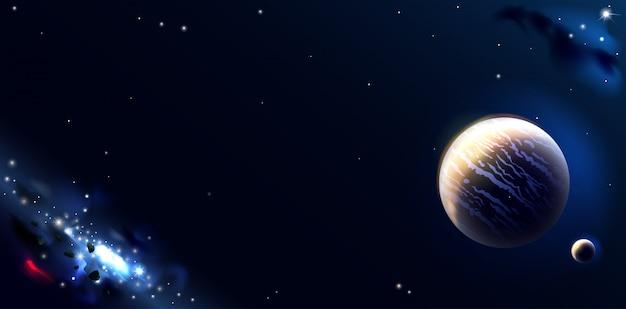 Fond D Ecran Avec Des Planetes Spatiales Et Des Galaxies Vecteur Premium
