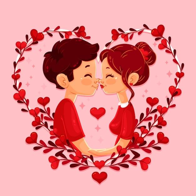 Fond D Ecran Plat De La Saint Valentin Vecteur Gratuite
