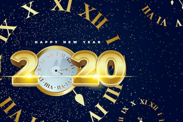 Fond D'écran Réaliste De L'horloge Du Nouvel An 2020 | Vecteur Gratuite