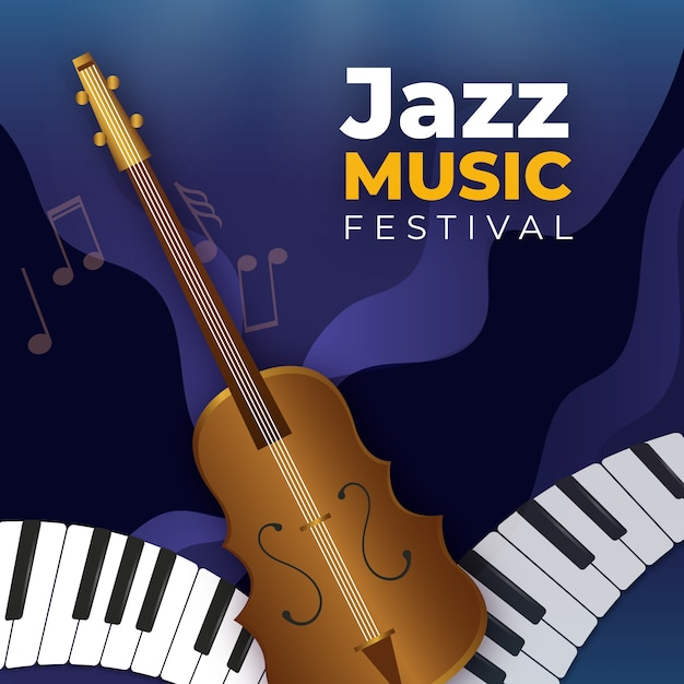 Fond D'écran Réaliste De La Journée Internationale Du Jazz Vecteur gratuit