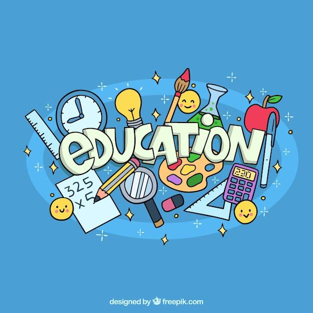 Fond de l'éducation dessinés à la main avec des éléments Vecteur gratuit