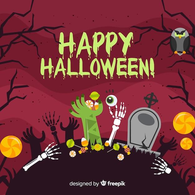 Fond effrayant halloween avec un design plat Vecteur gratuit