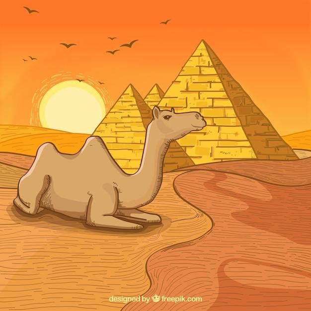 Fond de l'egypte avec paysage dessiné à la main Vecteur gratuit