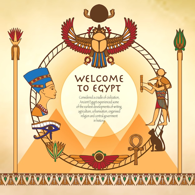 Fond égyptien avec cadre Vecteur gratuit
