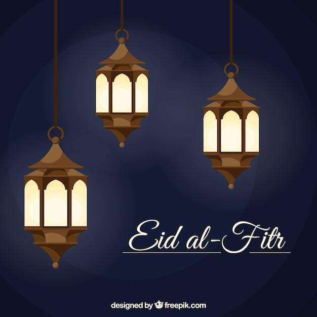 Fond Eid Al-fitr Avec Des Lanternes Vecteur gratuit
