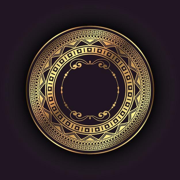 Fond élégant avec cadre circulaire en or Vecteur gratuit
