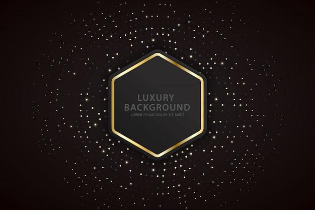 Fond élégant avec des hexagones à rayures dorées et des taches scintillantes Vecteur Premium