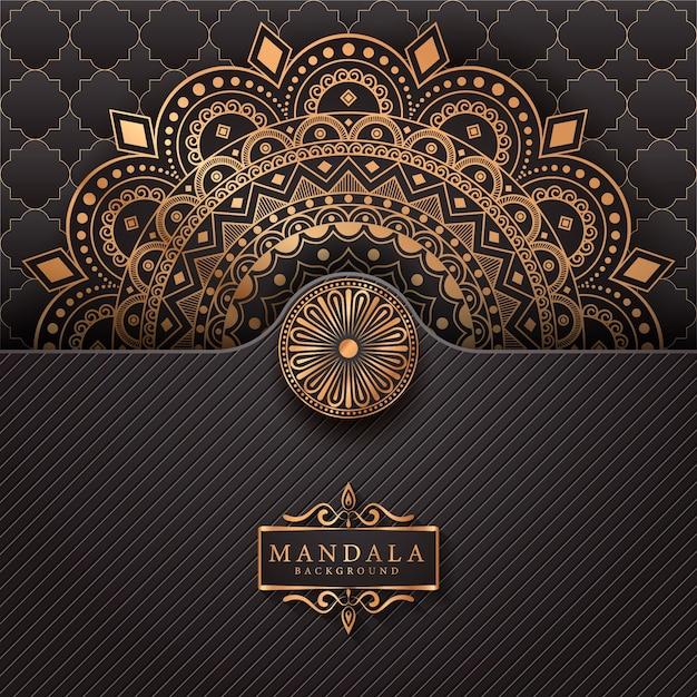 Fond D'élément Ethnique Décoratif Mandala De Luxe Vecteur Premium
