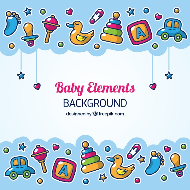 Fond d'éléments de bébé dans un style dessiné à la main Vecteur gratuit