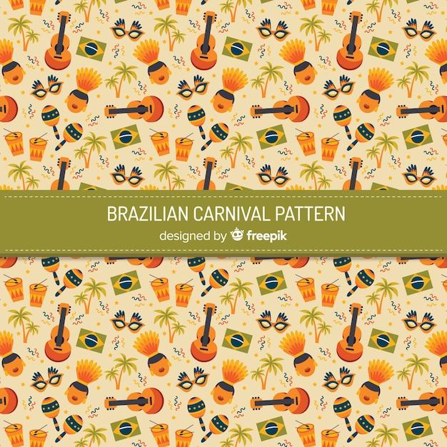 Fond d'éléments de carnaval brésilien Vecteur gratuit