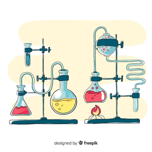 Fond d'éléments de chimie dessinés à la main Vecteur gratuit