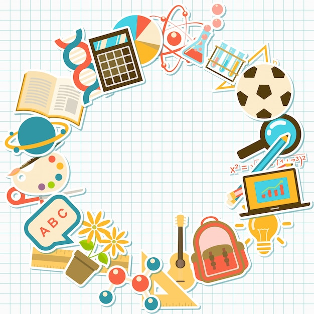 Fond avec des éléments de cours et d'école, Vecteur Premium