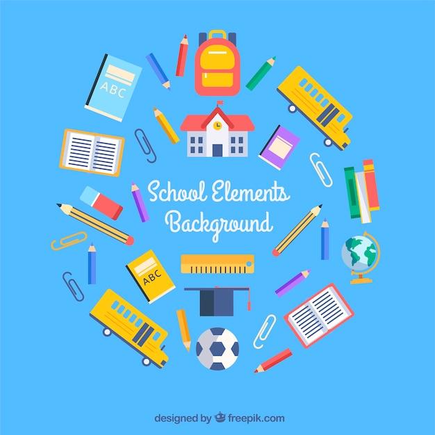 Fond d'éléments de l'école avec des fournitures scolaires Vecteur gratuit