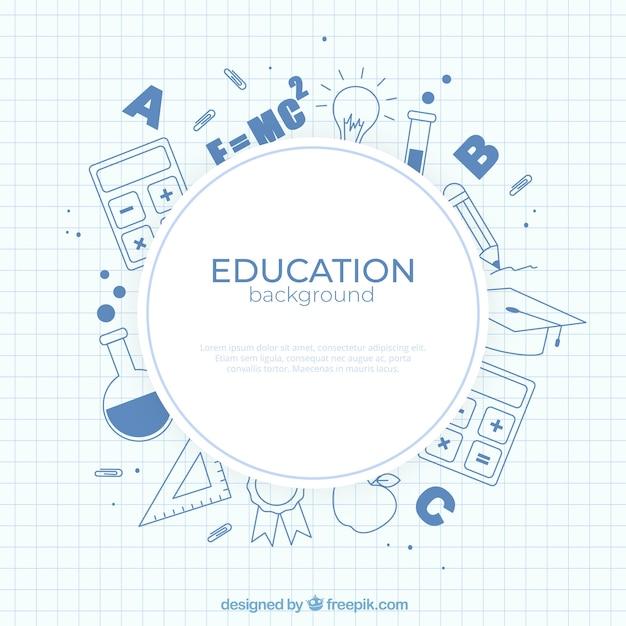 Fond D'éléments De L'éducation Dans Le Style Plat Vecteur gratuit