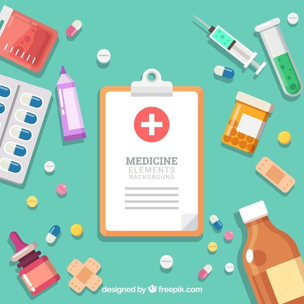 Fond D'éléments De Médecine Dans Un Style Plat Vecteur Premium