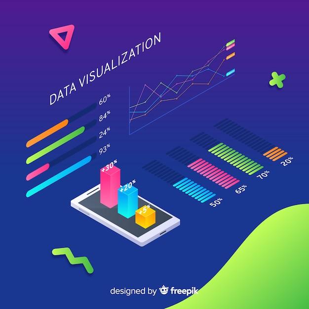 Fond d'éléments de visualisation de données isométriques Vecteur gratuit
