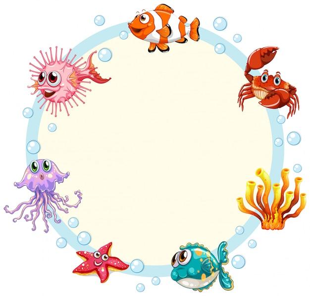 Fond encadré de créature sous-marine Vecteur gratuit