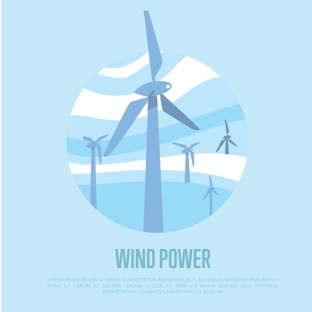 Fond D'énergie éolienne Vecteur Premium