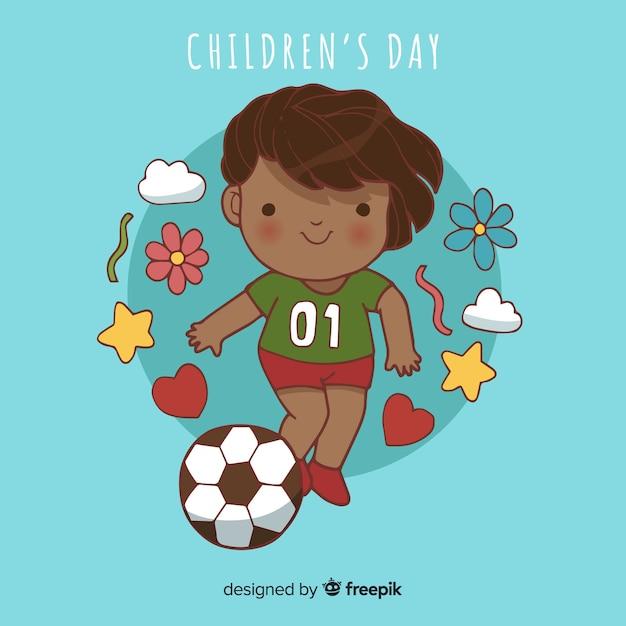 Fond d'enfant sportif de jour de l'enfant Vecteur gratuit