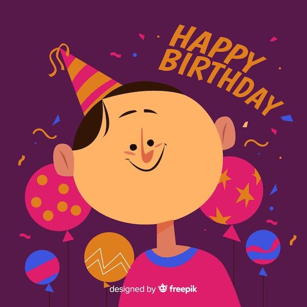 Fond d'enfants d'anniversaire dessinés à la main Vecteur gratuit