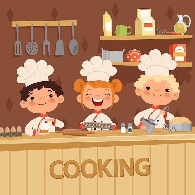 Fond d'enfants préparant un repas dans la cuisine Vecteur Premium