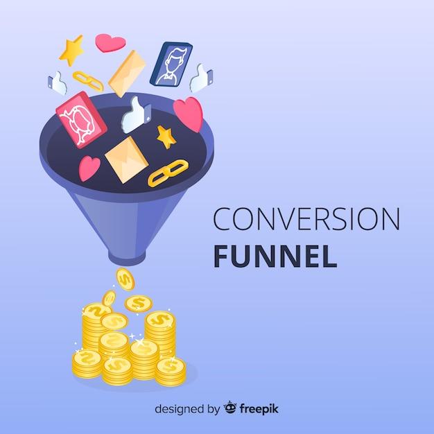Fond D'entonnoir Marketing Vecteur Premium