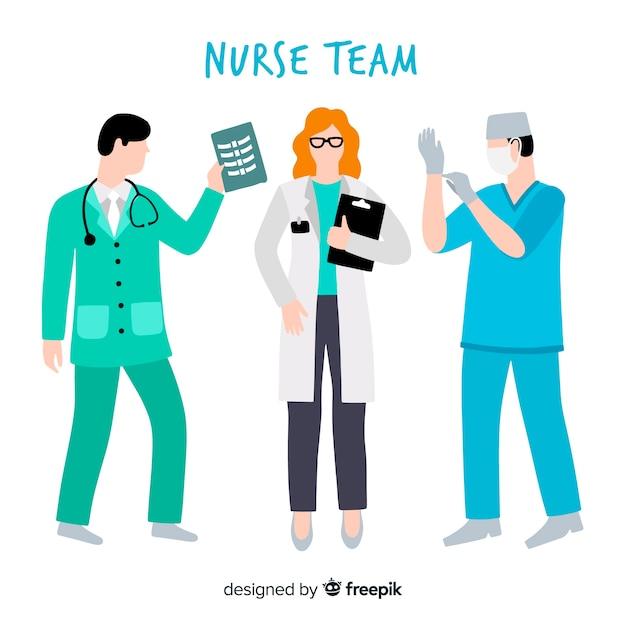 Fond d'équipe infirmière dessiné à la main Vecteur gratuit