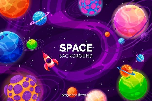 Fond d'espace coloré dessiné à la main Vecteur gratuit