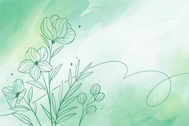 Fond D'espace Copie Aquarelle Avec Des éléments Floraux Dessinés à La Main Vecteur gratuit