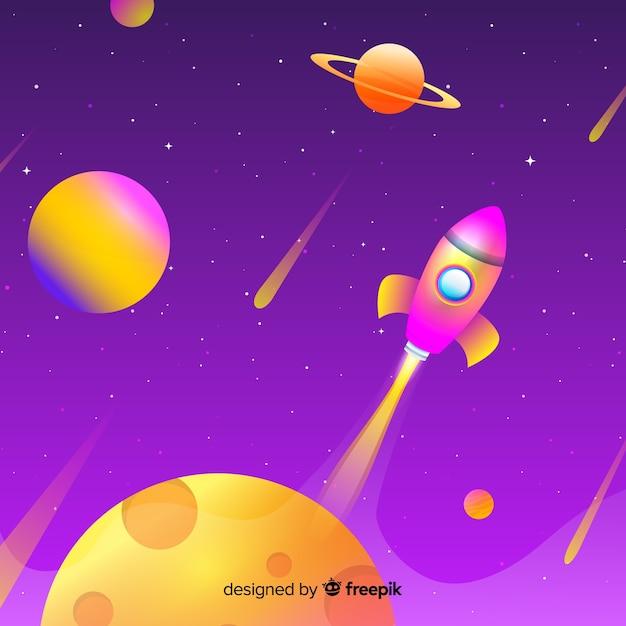 Fond d'espace dégradé avec fusée Vecteur gratuit