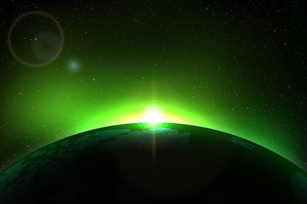 Fond d'espace avec une éclipse solaire totale pour votre conception Vecteur Premium