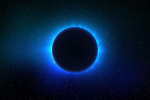 Fond de l'espace avec éclipse solaire totale Vecteur Premium
