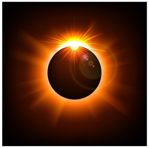 Fond de l'espace avec la lumière du soleil d'or Vecteur Premium