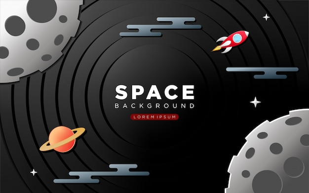 Fond de l'espace avec style artisanal en papier Vecteur Premium
