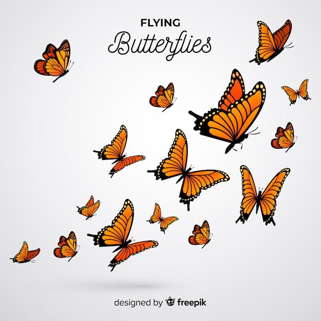 Fond d'essaim de papillons réalistes Vecteur gratuit