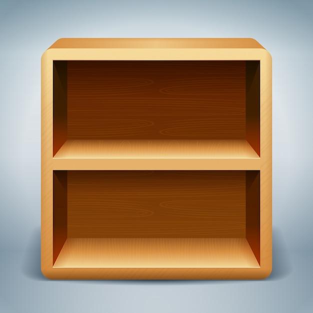 Fond d'étagères en bois Vecteur Premium
