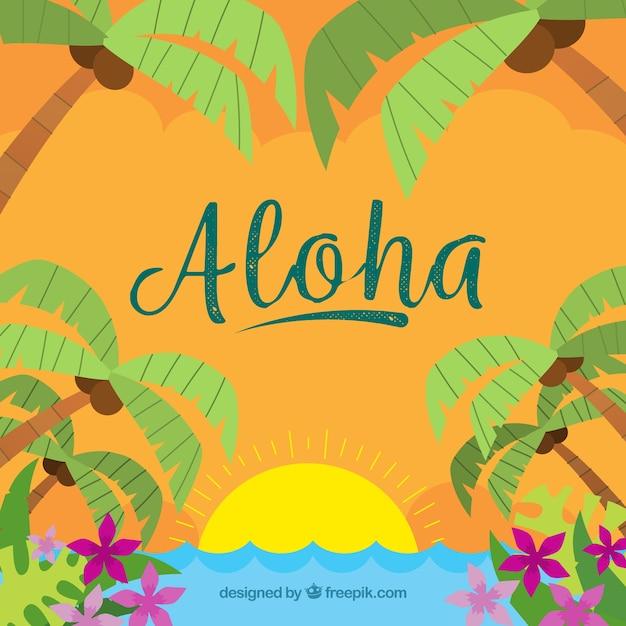 Fond d'été aloha dessiné à la main Vecteur gratuit