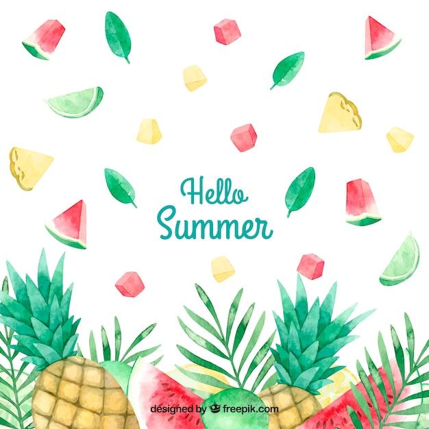 Fond d'été aquarelle amusant et coloré Vecteur gratuit