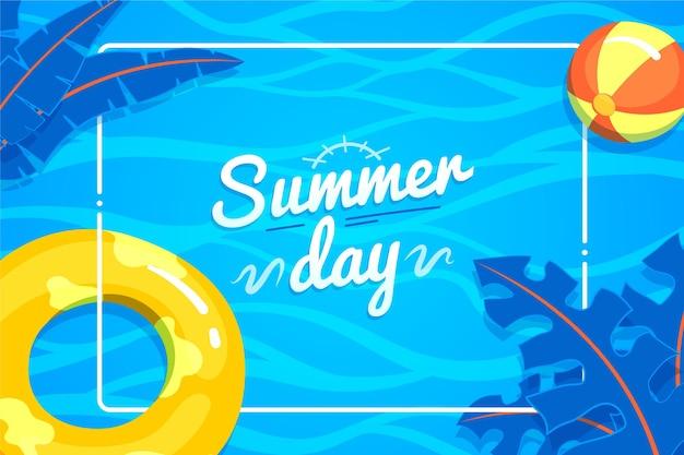 Fond D'été Avec Ballon De Plage Et Feuilles Vecteur gratuit