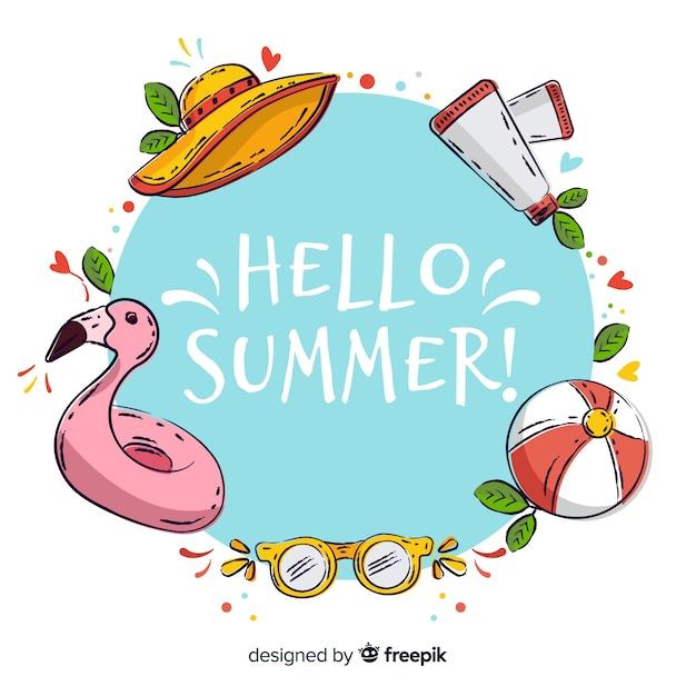 Fond d'été bonjour dessinés à la main Vecteur gratuit